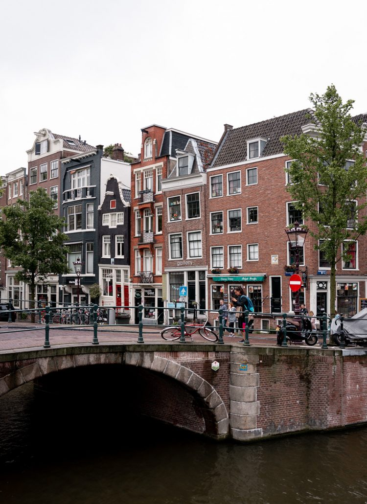 A small bridge in Amsterdam with views of the row houses