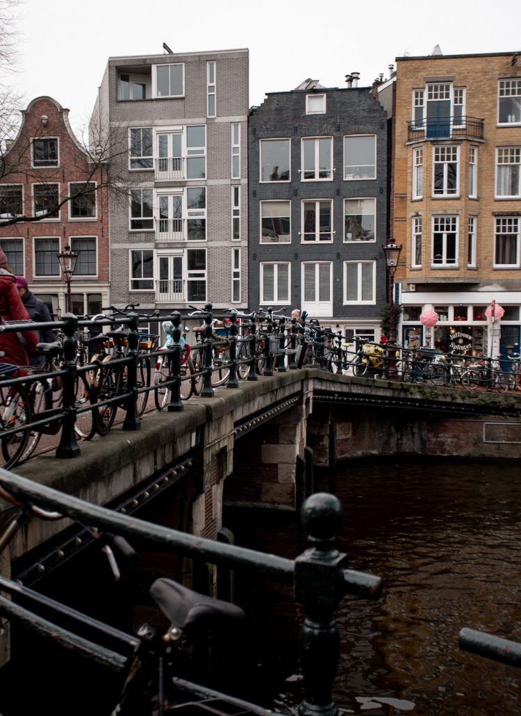 Row houses located on the canals of Amsterdam
