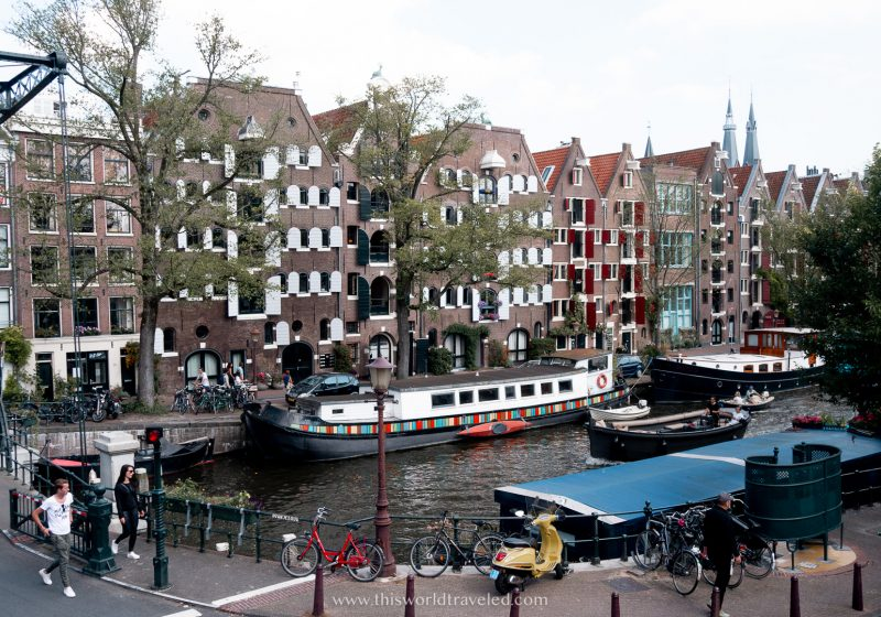 A houseboat parked on the canals in Amsterdam