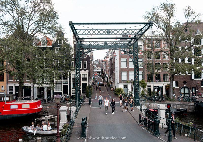 Oranjebrug bridge and canal in Amsterdam