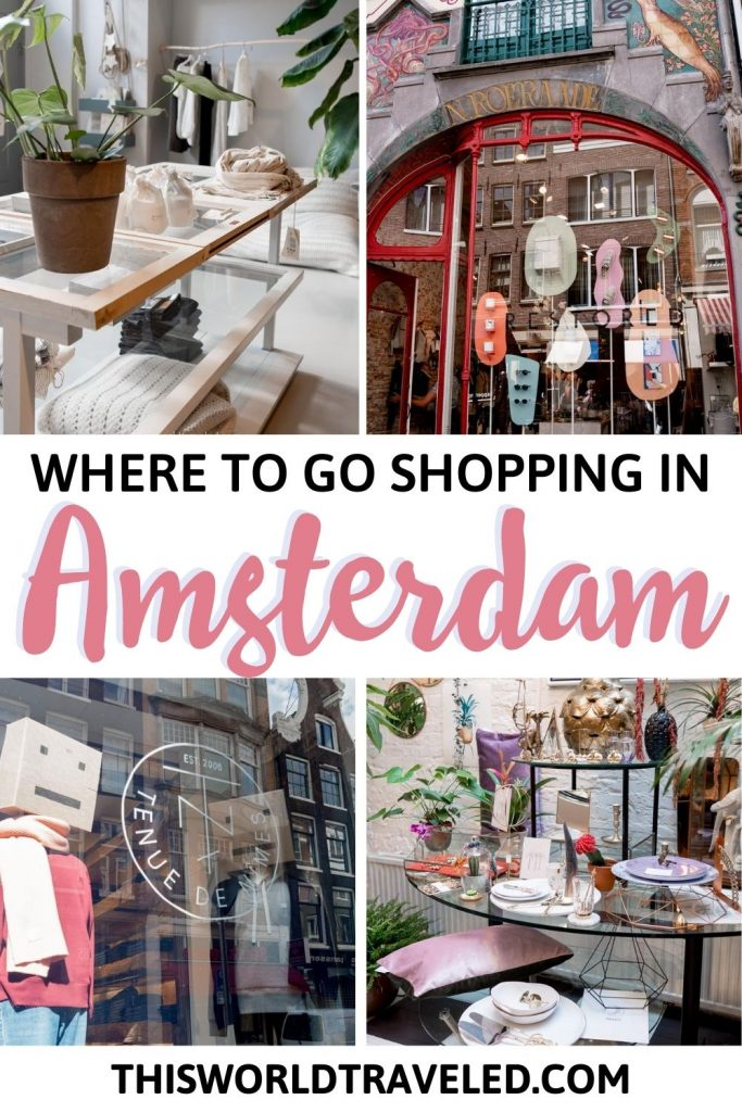 Four pictures of boutique shops in Amsterdam, Netherlands