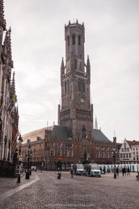 The Belfry tower in the center of Markt Square in Bruges, Belgium