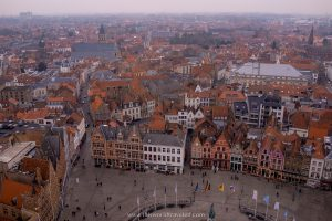 Red rooftops and skyline views over Bruges as seen from the Belfry