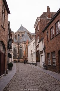 Almshouses located along a cobblestone street in Bruges, Belgium