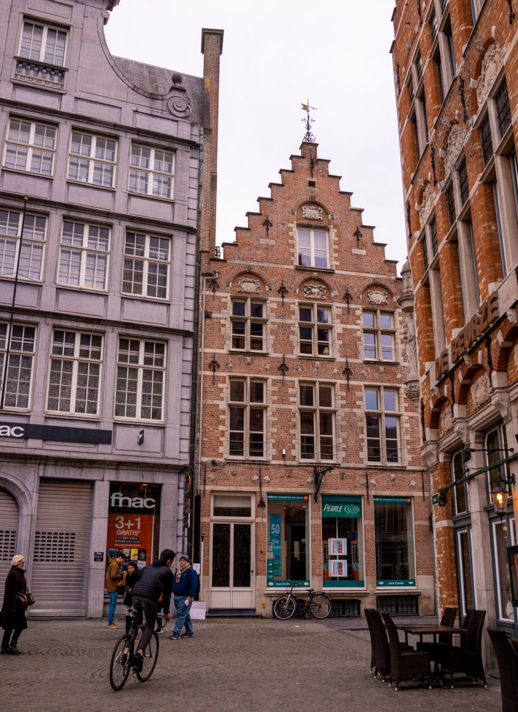 The orange colored almshouses in Bruges, Belgium