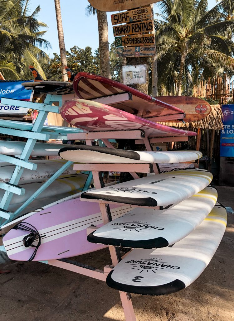 A rack of surf boards near Cloud 9 on Siargao