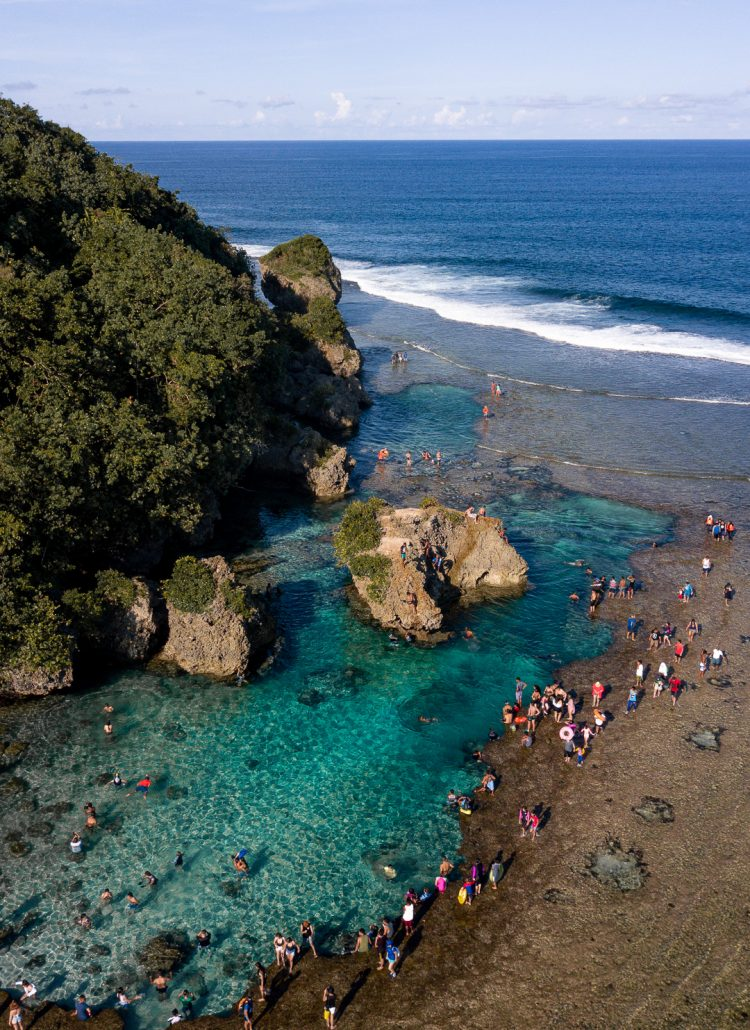 Drone shot of the Magpupungko tide pools in Siargao