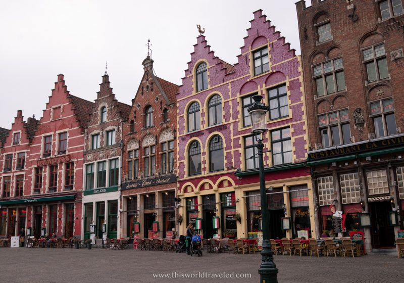The gingerbread style guild houses that line Markt Square in Bruges, Belgium