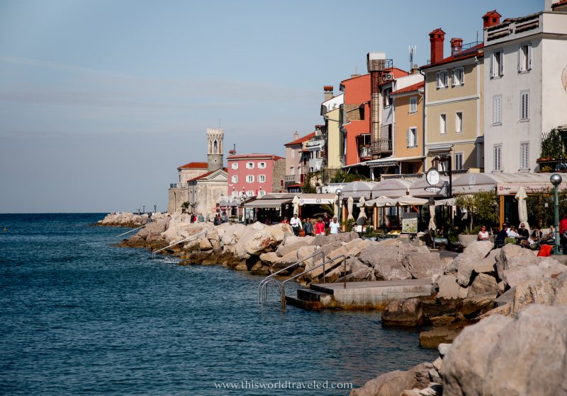 Colorful, Venetian style houses lining a promenade in Piran, Slovenia