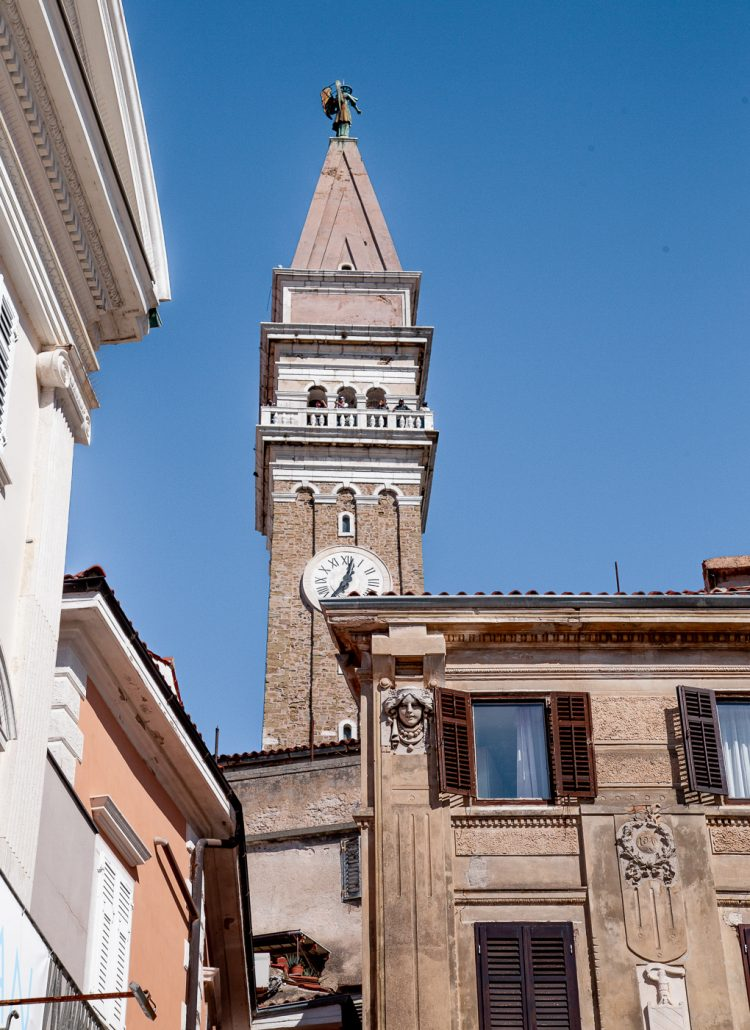 The large campanile located in Piran, Slovenia that is modeled after the one is St. Mark's Square in Venice, Italy