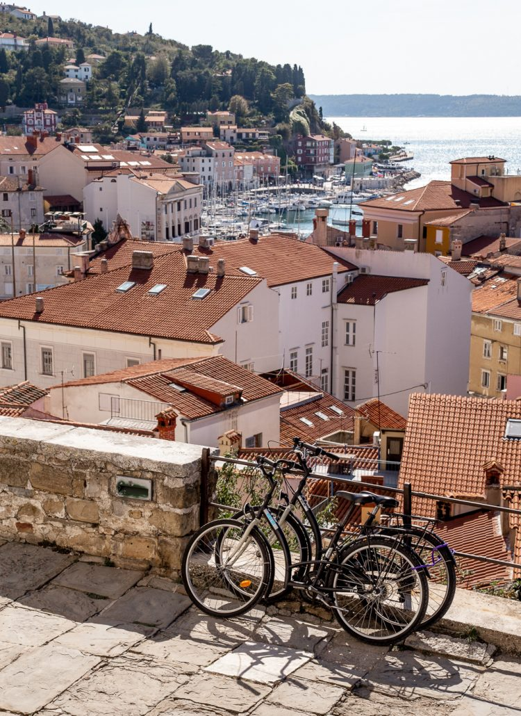Views of Piran, Slovenia from the climb up to the Church of St. George up on the hill