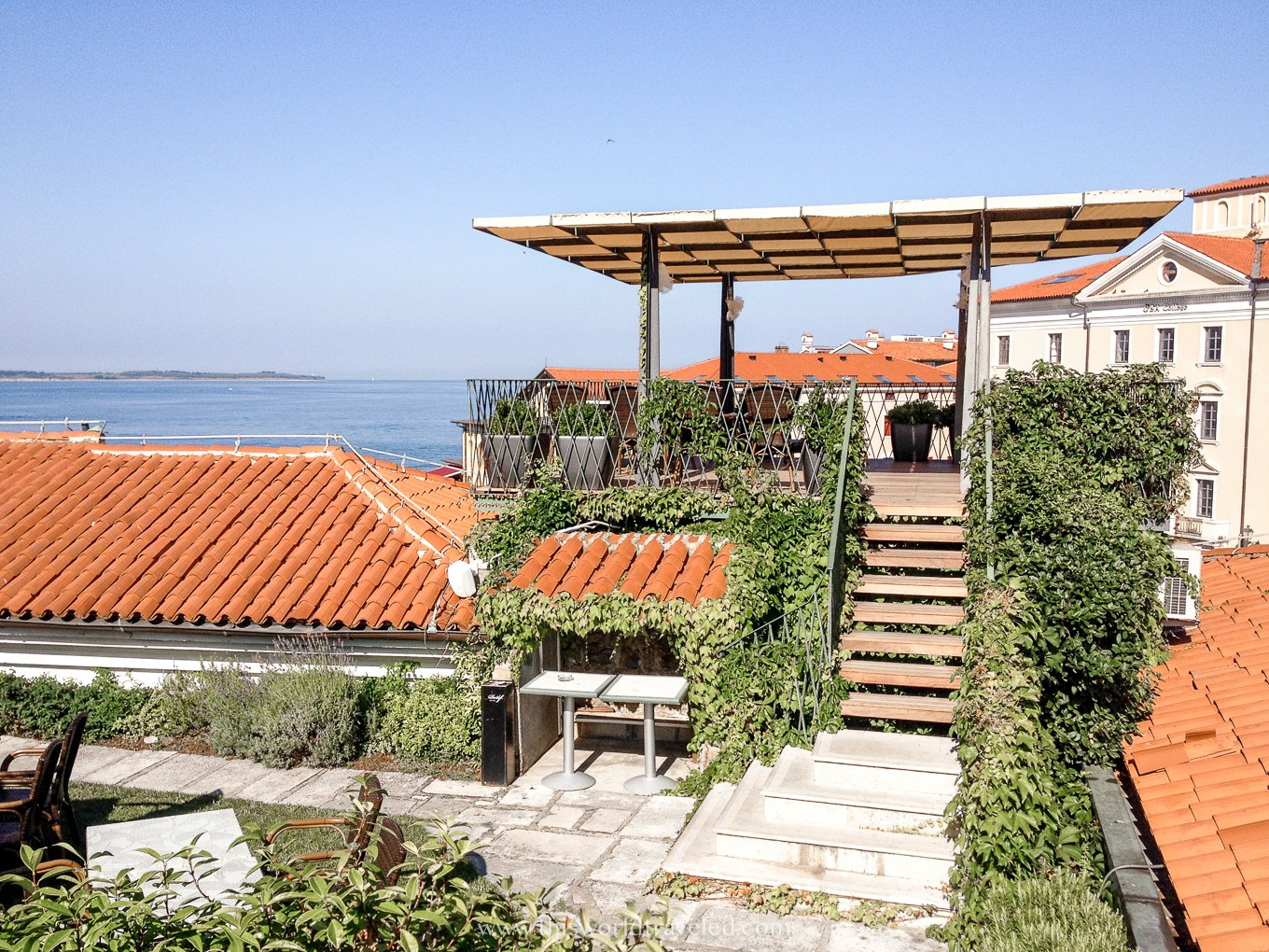 A large rooftop garden with plants and a red roof on top of Art Hotel Tartini in Piran