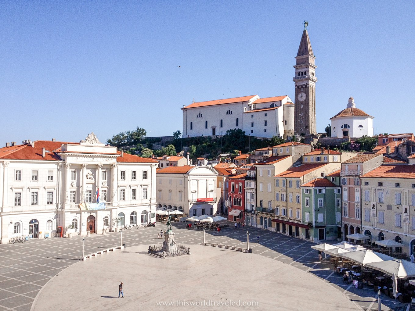 A large open square in the middle of Old Town with Venetian architecture in Piran, Slovenia