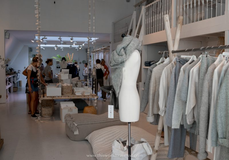 Inside a shop in Amsterdam called Sukha with neutral colored clothing