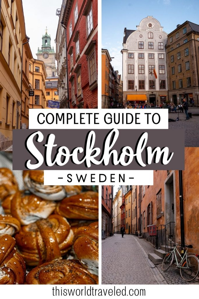 Pinterest pin with four pictures of colored buildings in Stockholm and text that says 'A complete guide to Stockholm, Sweden'