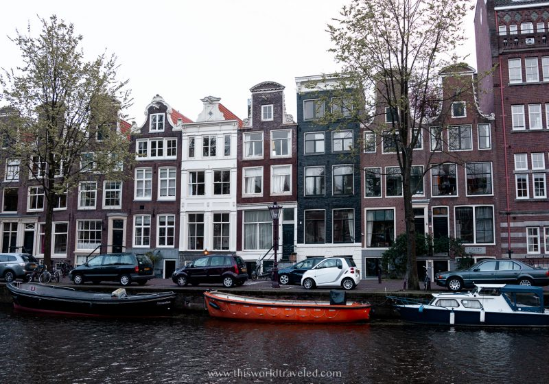 Gingerbread houses along the canals in Amsterdam