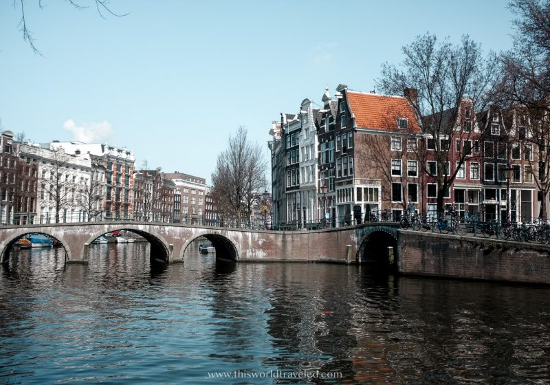 A row of gingerbread houses along one of Amsterdams main canals