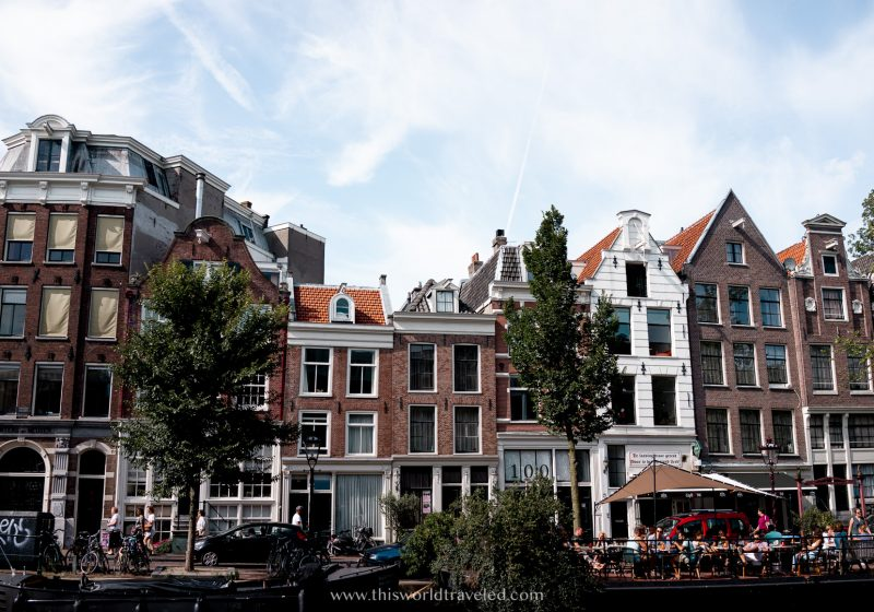 A row of gingerbread houses in Amsterdam along the canals