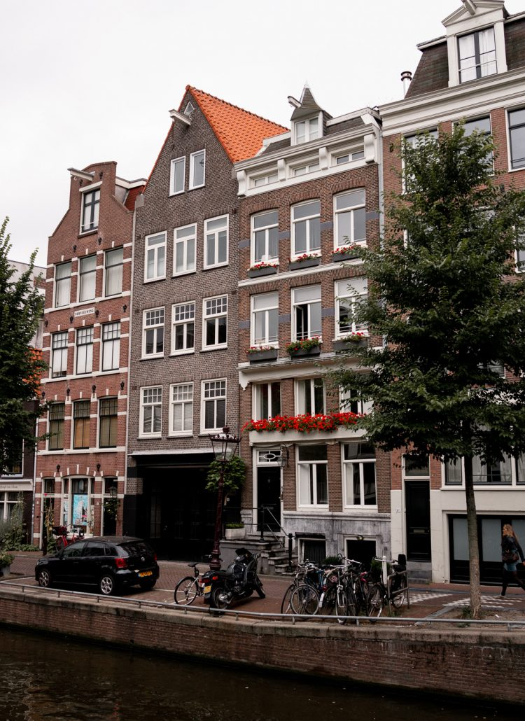 The orange and brown row houses in Amsterdam