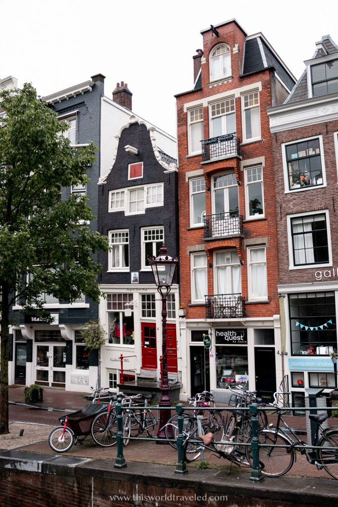 Row houses along the canal in Amsterdam