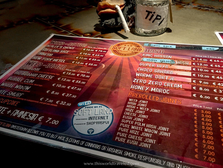 A marijuana menu at a coffeeshop in Amsterdam