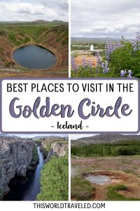 Pinterest board cover with text that says Must See Stops Along the Golden Circle, Iceland and pictures of Strokkur Geysir and Gullfoss waterfall