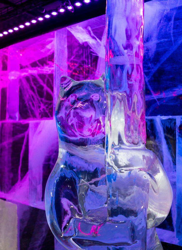 A bear ice sculpture in an icebar in Sweden