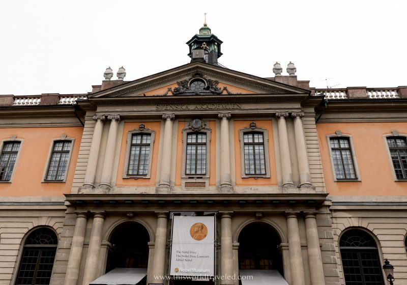 The exterior of the Nobel Prize Museum in Stockholm, Sweden
