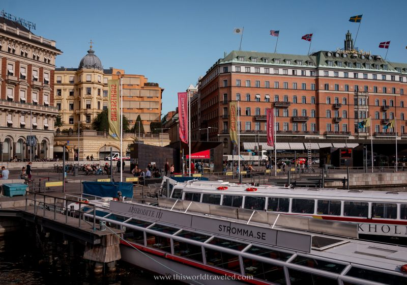 Canal boats in Stockholm with a view of Norrmalm