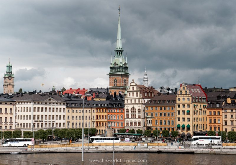 A panoramic view of Stockholm with the lake and colored buildings