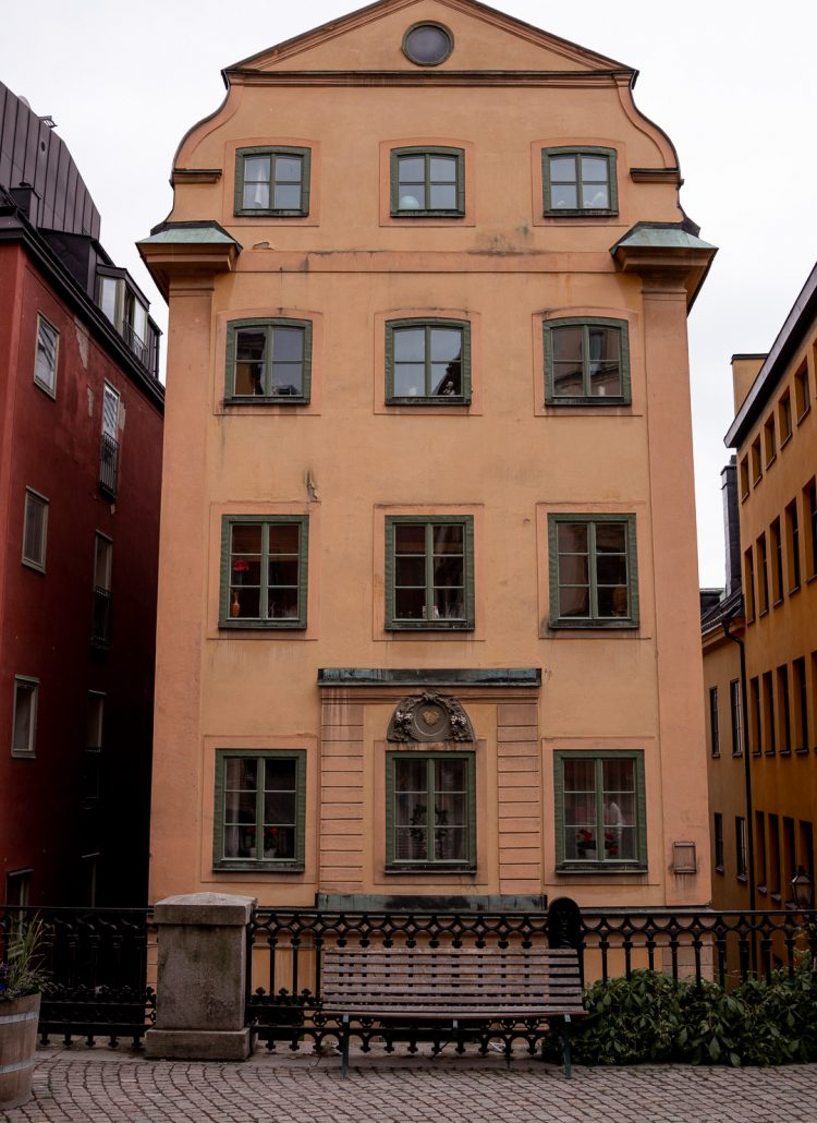A yellow house located in Gamla Stan in Stockholm