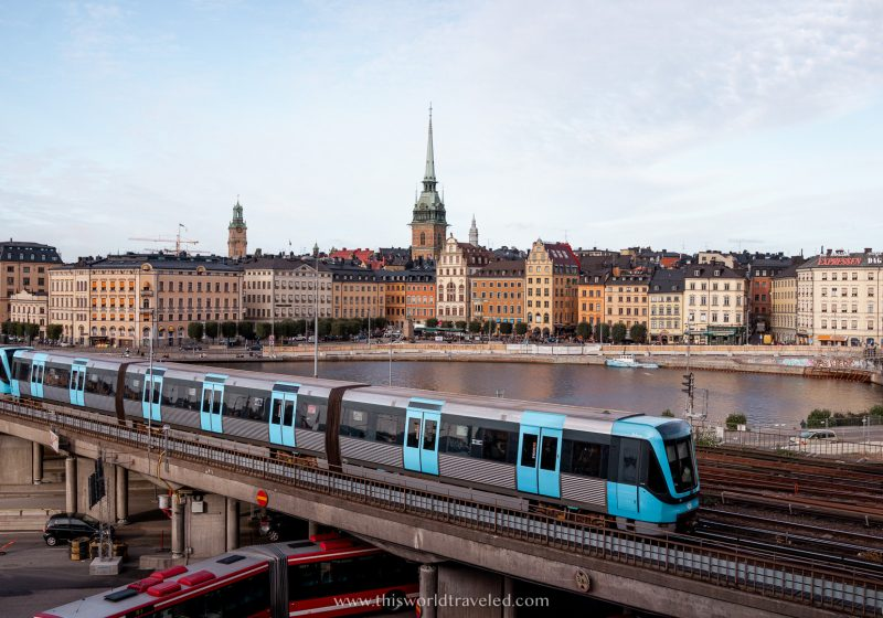 A train running along a bridge in Stockholm