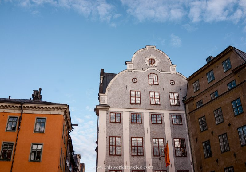 The grey and yellow buildings of Stortorget in Stockholm