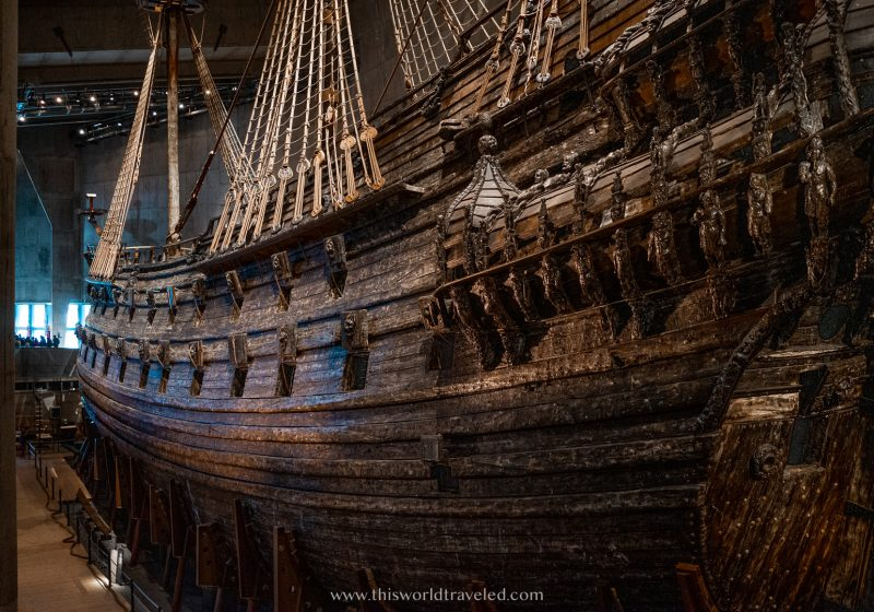 The wooden details and mast of the Vasa Ship in Sweden