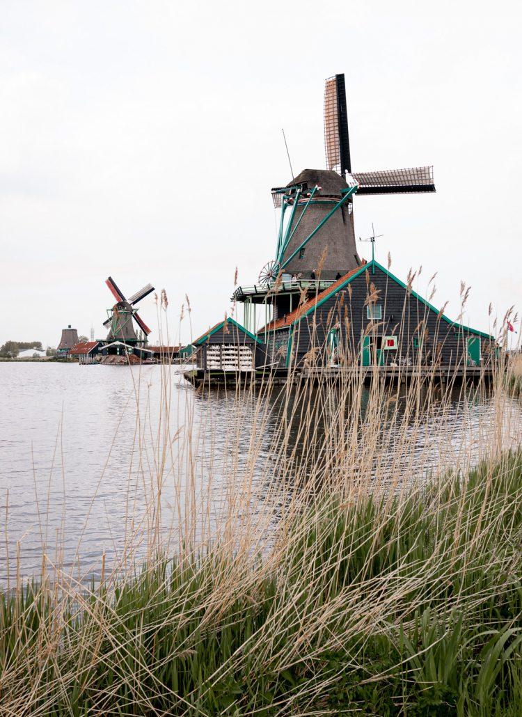 Wooden windmills at Zaanse Schans in the Netherlands
