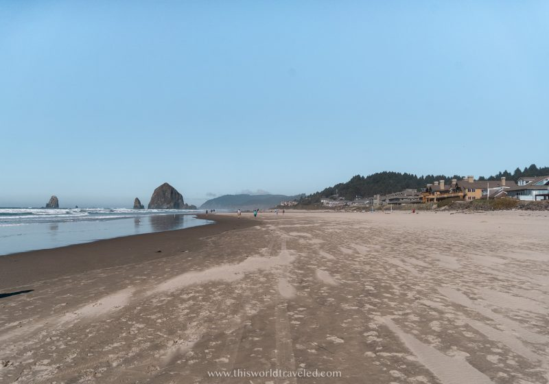 Beachfront bungalows located along the beach in Cannon beach, Oregon