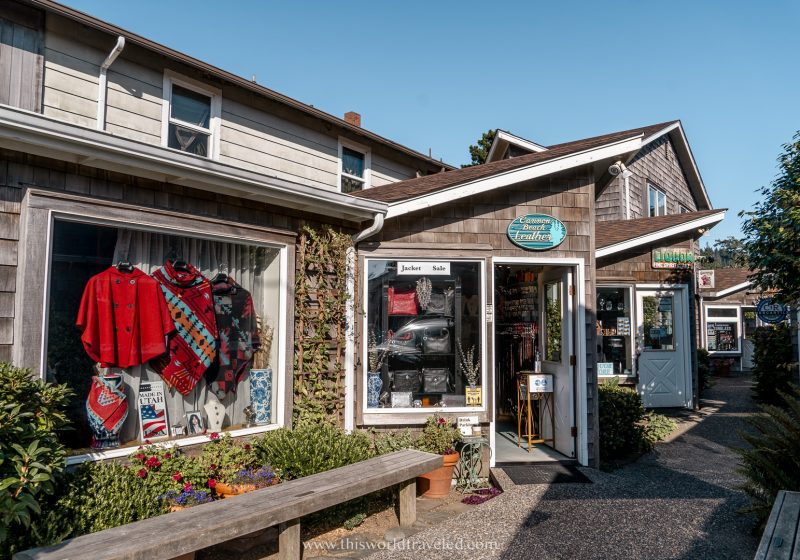 A small street with shops in Cannon Beach, Oregon