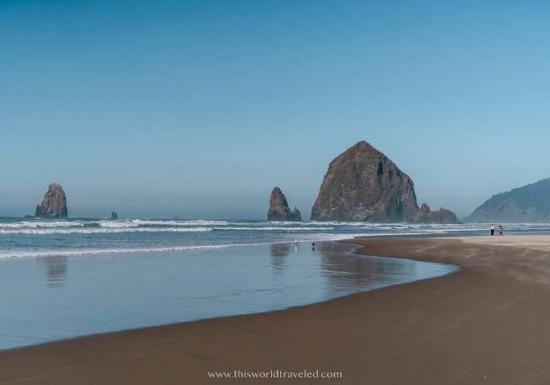 The large Haystack rock on Cannon beach in Oregon