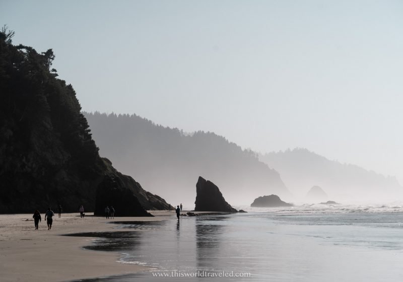 Moody beach views of rock formations along the Pacific Ocean in Oregon