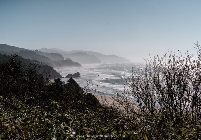 Views of Arcadia State Park from the Oregon Coast Highway. Large rock formations and the ocean