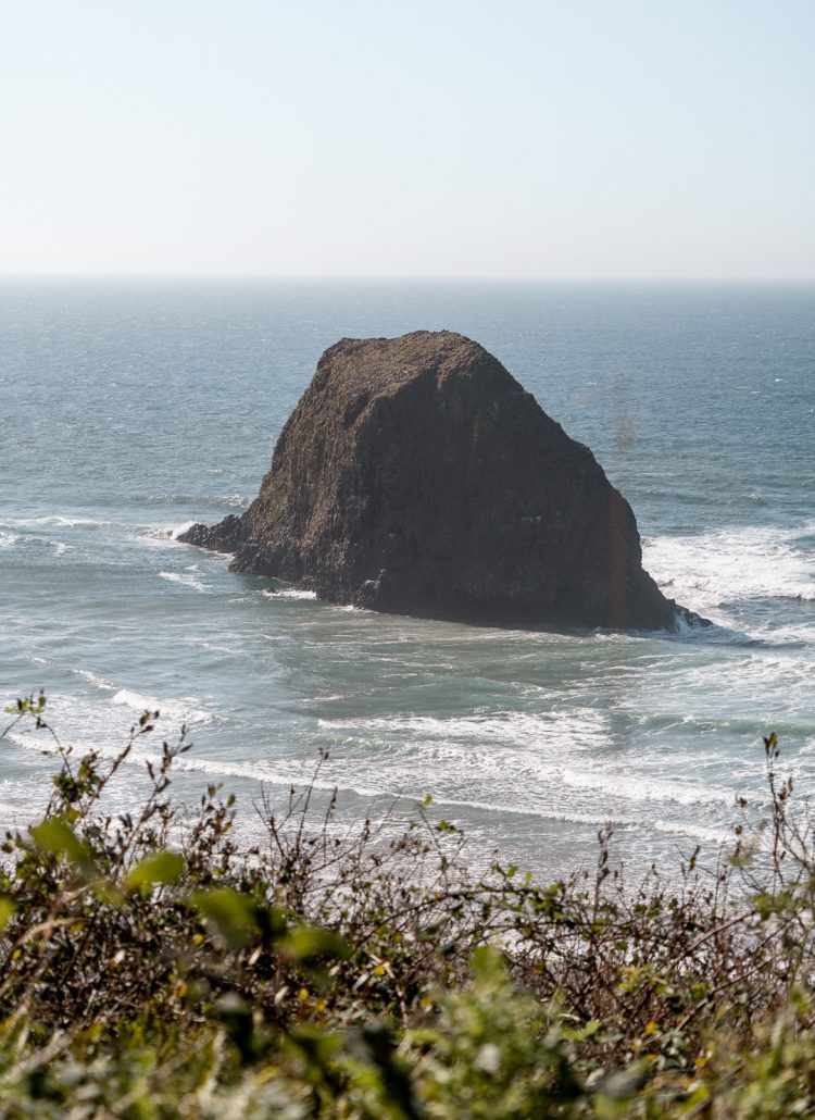 A large rock formation off the coast in Oregon in the Pacific Ocean