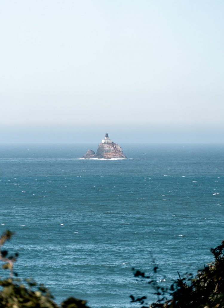 The Tillamook Lighthouse in the Pacific ocean seen on the Oregon Coast