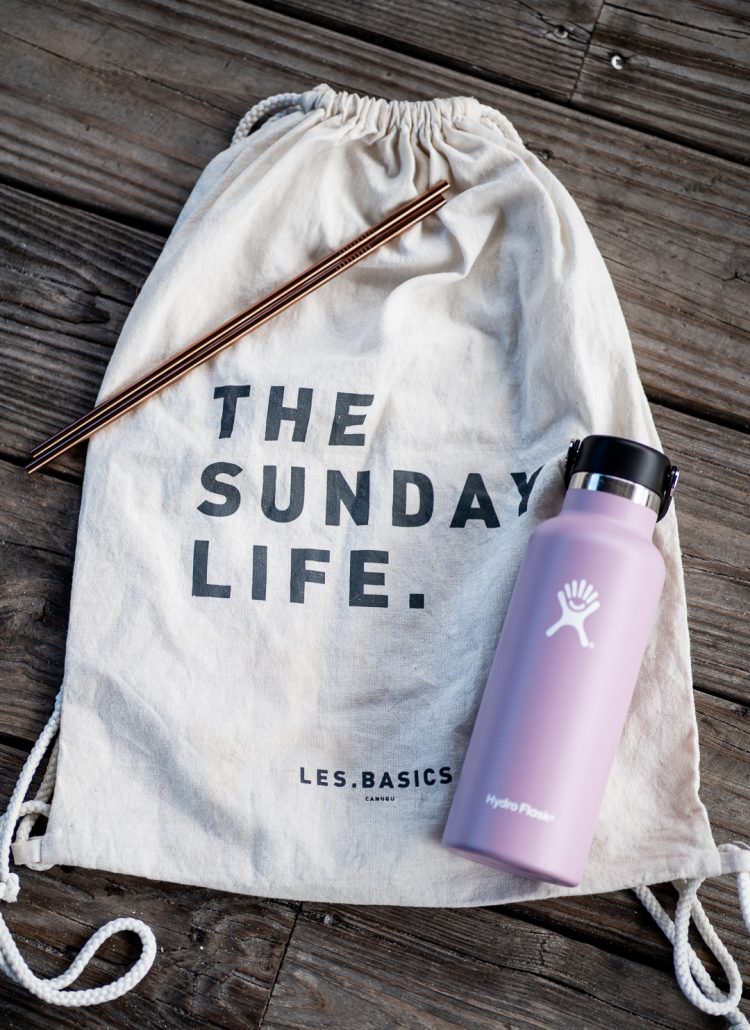 using canvas bags, reusable water bottles and stainless steel straws is a great way to be eco friendly