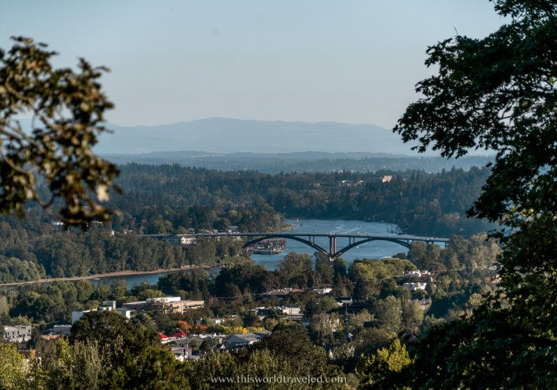 View of the Colombia River Gorge with a bridge from Portland, Oregon