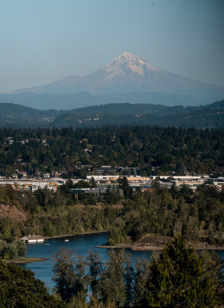Mount Hood as seen from a viewpoint in Portland Oregon