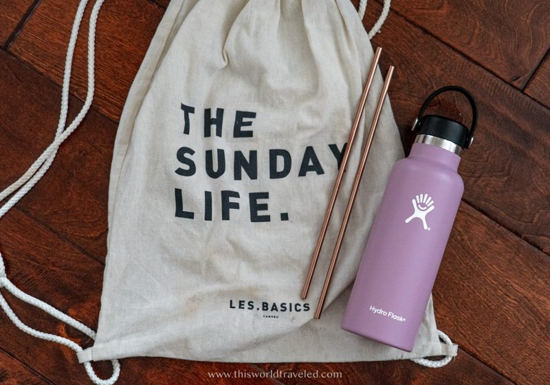 Canvas bag, metal straws and reusable water bottle