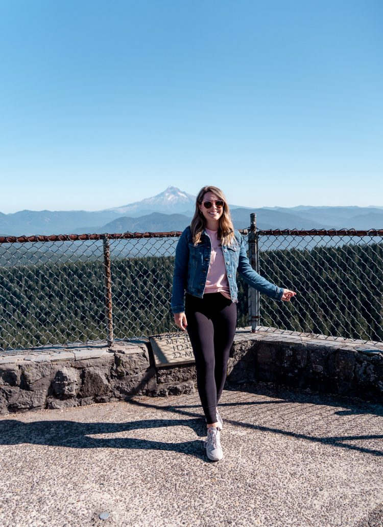 girl standing on the Sherrard Point observation deck at Larch Mountain