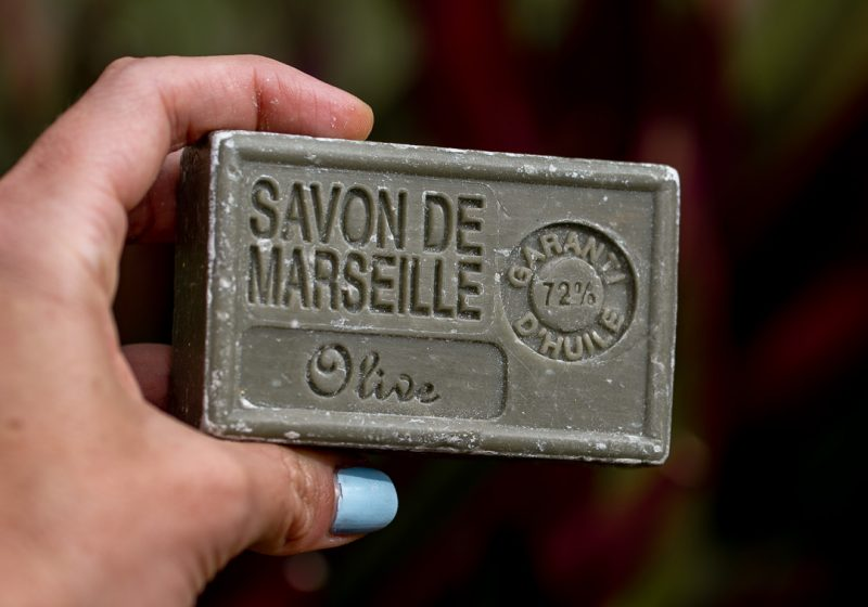 Bar of solid soap for sustainable travel