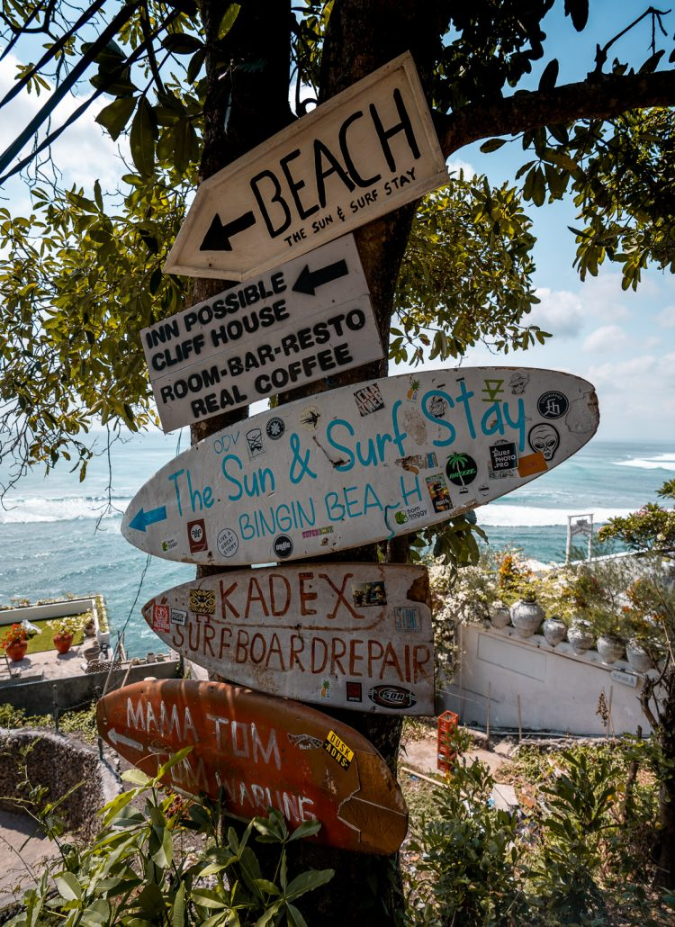 small signs made out of surfboards in Uluwatu, Bali