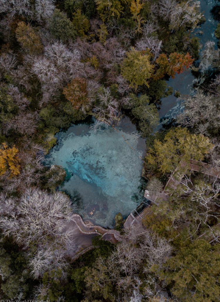 Drone shot of the blue hole with turquoise water surrounded by trees